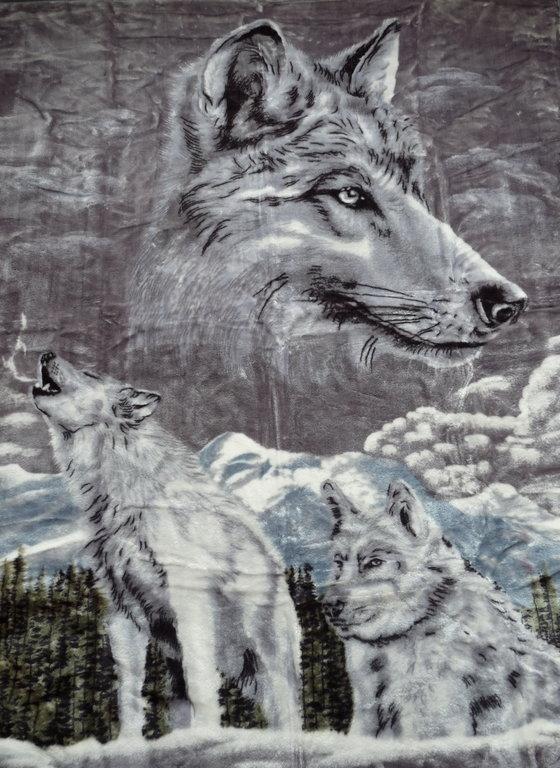 kuscheldecke mit motiv silber wolf 200x160cm natur fell shop. Black Bedroom Furniture Sets. Home Design Ideas
