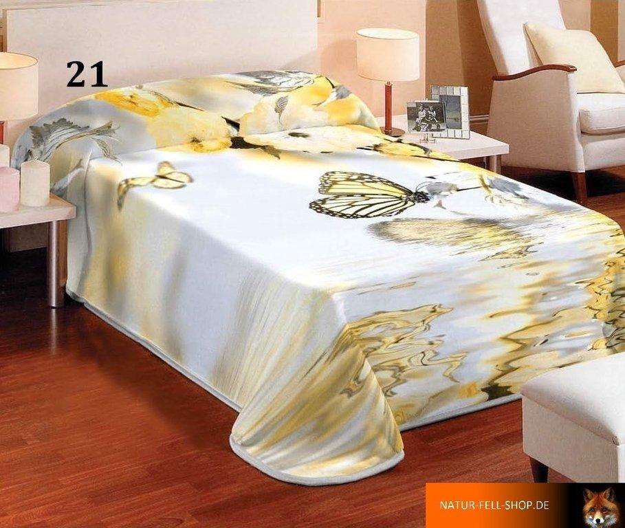 kuscheldecke mit 3d effekt motiv schmetterling gelb 155x200cm natur fell shop. Black Bedroom Furniture Sets. Home Design Ideas