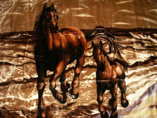 kuscheldecke motiv pferd mit fohlen in braun 200x160cm natur fell shop. Black Bedroom Furniture Sets. Home Design Ideas