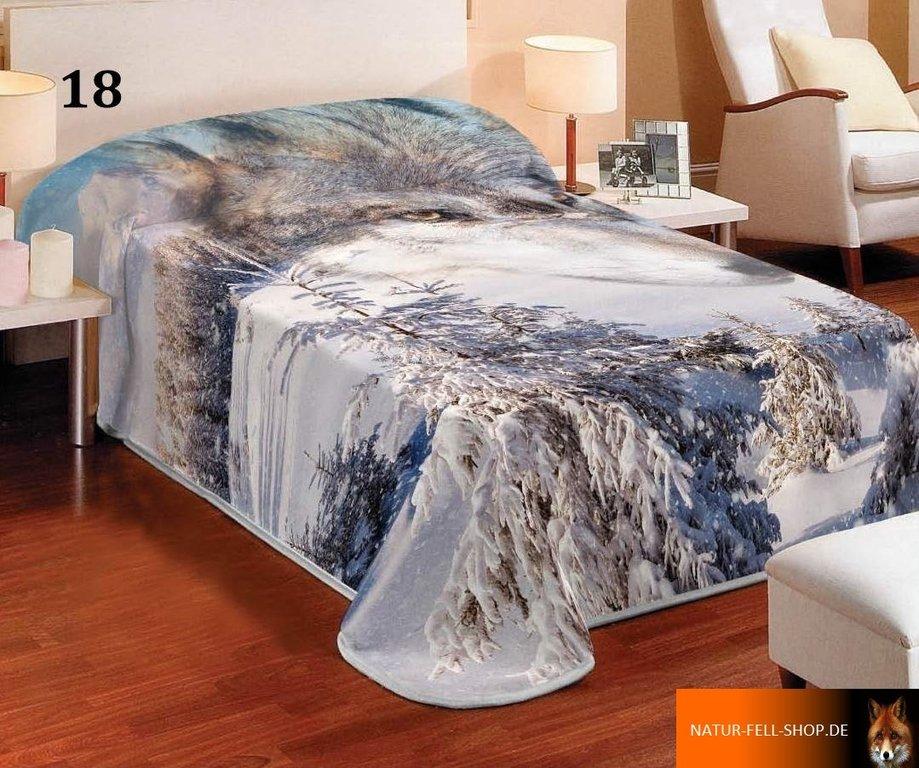 kuscheldecke mit 3d effekt motiv wolf w lfe 155x200cm natur fell shop. Black Bedroom Furniture Sets. Home Design Ideas