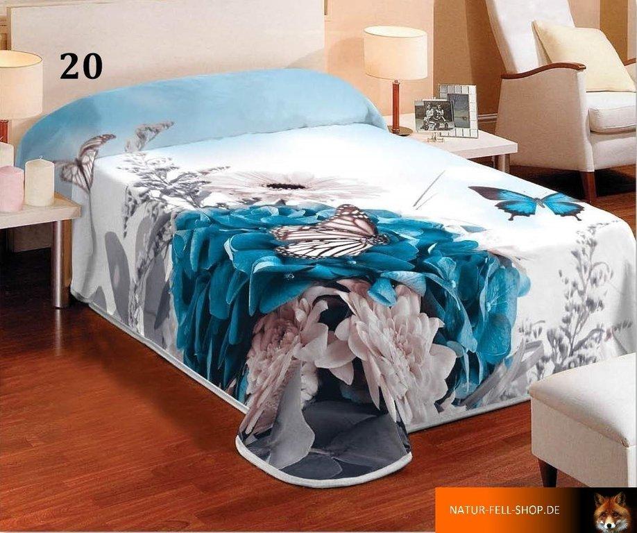 kuscheldecke mit 3d effekt motiv schmetterling blau 155x200cm natur fell shop. Black Bedroom Furniture Sets. Home Design Ideas
