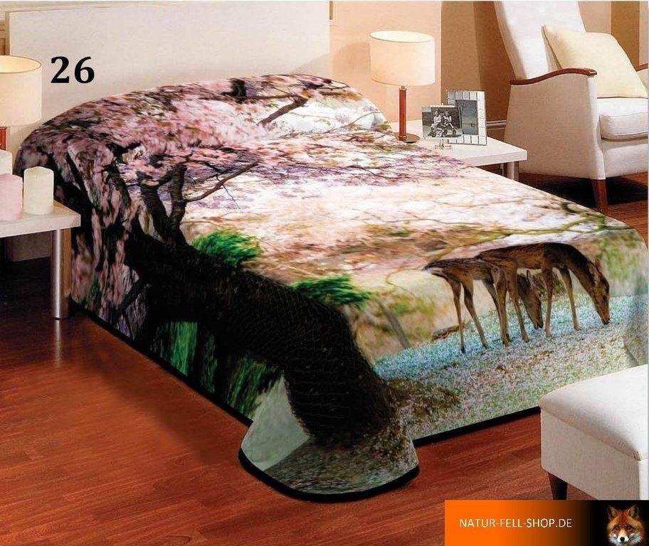 kuscheldecke mit 3d effekt motiv wald rehe 155x200cm natur fell shop. Black Bedroom Furniture Sets. Home Design Ideas