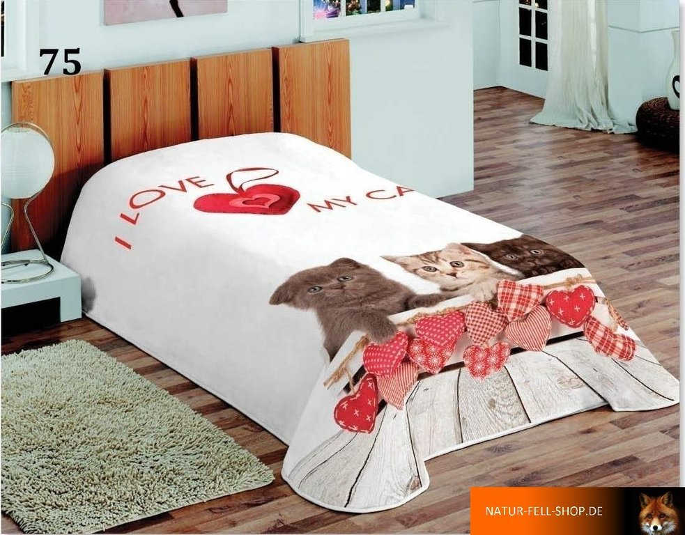 kuscheldecke mit 3d effekt motiv i love my cat 155x200cm natur fell shop. Black Bedroom Furniture Sets. Home Design Ideas