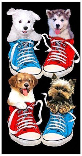 Handtuch Strandtuch Badehandtuch Saunatuch Motiv Hunde / Dogs in Sneakers 150x70cm
